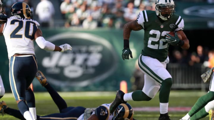 EAST RUTHERFORD, NJ - NOVEMBER 13: Matt Forte #22 of the New York Jets runs the ball in the second quarter against the Los Angeles Rams at MetLife Stadium on November 13, 2016 in East Rutherford, New Jersey. (Photo by Michael Reaves/Getty Images)