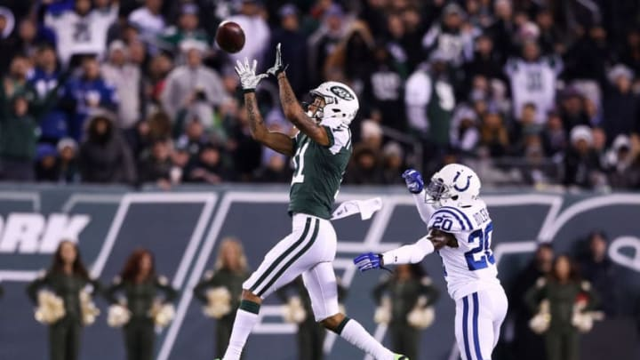 EAST RUTHERFORD, NJ - DECEMBER 05: Robby Anderson #11 of the New York Jets fails to complete a pass as Darius Butler #20 of the Indianapolis Colts defends in the third quarter during their game at MetLife Stadium on December 5, 2016 in East Rutherford, New Jersey. (Photo by Elsa/Getty Images)