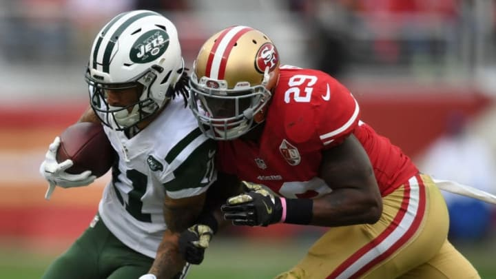 SANTA CLARA, CA - DECEMBER 11: Robby Anderson #11 of the New York Jets is hit by Jaquiski Tartt #29 of the San Francisco 49ers during their NFL game at Levi's Stadium on December 11, 2016 in Santa Clara, California. (Photo by Thearon W. Henderson/Getty Images)