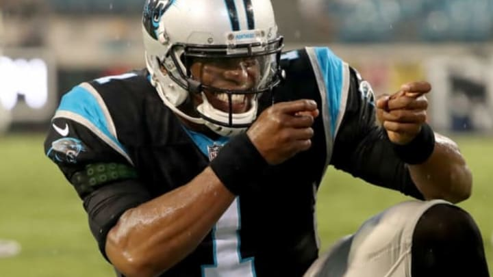 JACKSONVILLE, FL – AUGUST 24: Cam Newton #1 of the Carolina Panthers celebrates a touchdown during a preseason game against the Jacksonville Jaguars at EverBank Field on August 24, 2017 in Jacksonville, Florida. (Photo by Sam Greenwood/Getty Images)
