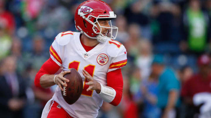 SEATTLE, WA - AUGUST 25: Quarterback Alex Smith #11 of the Kansas City Chiefs rushes against the Seattle Seahawks at CenturyLink Field on August 25, 2017 in Seattle, Washington. (Photo by Otto Greule Jr/Getty Images)