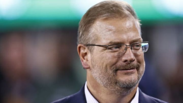 EAST RUTHERFORD, NJ – AUGUST 31: New York Jets general manager Mike Maccagnan stands on the sidelines during their preseason game against the Philadelphia Eagles at MetLife Stadium on August 31, 2017 in East Rutherford, New Jersey. (Photo by Jeff Zelevansky/Getty Images)