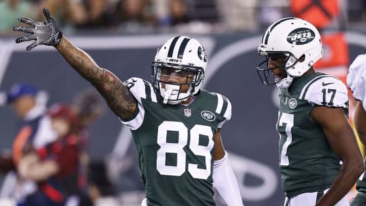 EAST RUTHERFORD, NJ – AUGUST 31: Jalin Marshall #89 and Charone Peake #17 of the New York Jets celebrate a first down against the Philadelphia Eagles during their preseason game at MetLife Stadium on August 31, 2017 in East Rutherford, New Jersey. (Photo by Jeff Zelevansky/Getty Images)