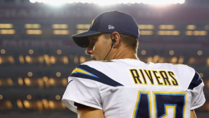 SANTA CLARA, CA – AUGUST 31: Philip Rivers #17 of the Los Angeles Chargers stands on the sideline during their game against the San Francisco 49ers at Levi's Stadium on August 31, 2017 in Santa Clara, California. (Photo by Ezra Shaw/Getty Images)