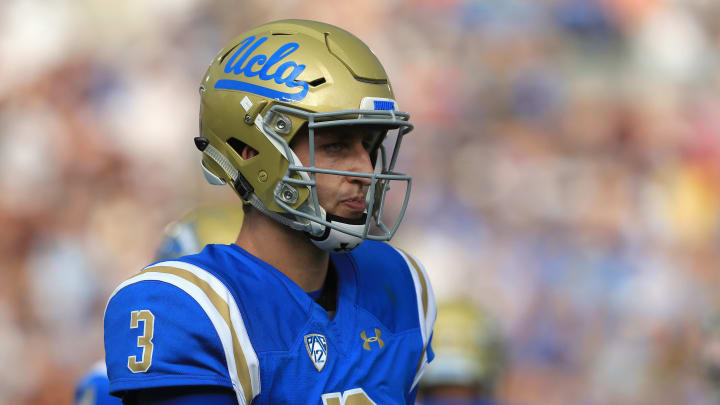 PASADENA, CA – SEPTEMBER 03: Josh Rosen #3 of the UCLA Bruins looks on during the first half of a game against the Texas A&M Aggies at the Rose Bowl on September 3, 2017 in Pasadena, California. (Photo by Sean M. Haffey/Getty Images)
