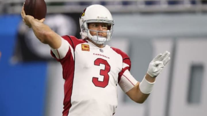 DETROIT, MI – SEPTEMBER 10: Carson Palmer #3 of the Arizona Cardinals warms up before the game against Detroit Lions at Ford Field on September 10, 2017 in Detroit, Michigan. (Photo by Gregory Shamus/Getty Images)