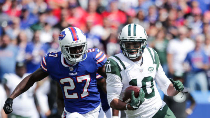ORCHARD PARK, NY - SEPTEMBER 10: Tre'Davious White #27 of the Buffalo Bills attempts to tackle Jermaine Kearse #10 of the New York Jets during the first hald on September 10, 2017 at New Era Field in Orchard Park, New York. (Photo by Brett Carlsen/Getty Images)