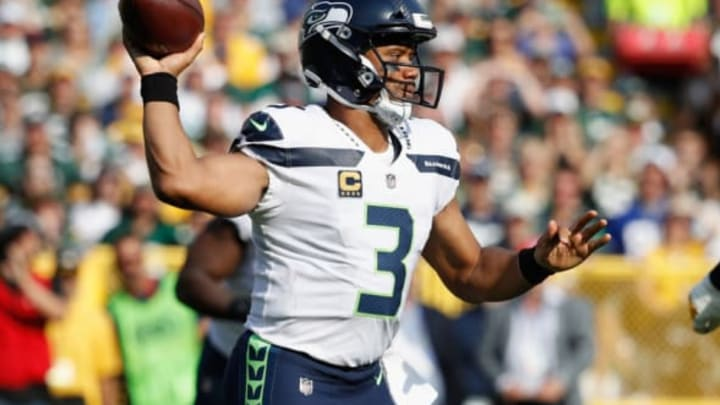 GREEN BAY, WI – SEPTEMBER 10: Russell Wilson #3 of the Seattle Seahawks throws a pass during the first half against the Green Bay Packers at Lambeau Field on September 10, 2017 in Green Bay, Wisconsin. (Photo by Joe Robbins/Getty Images)