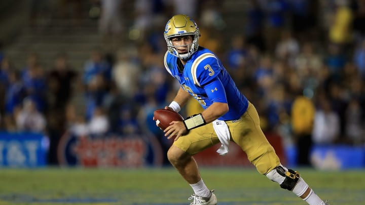 PASADENA, CA – SEPTEMBER 03: Josh Rosen #3 of the UCLA Bruins runs with the ball during the second half of a game against the Texas A&M Aggies at the Rose Bowl on September 3, 2017 in Pasadena, California. (Photo by Sean M. Haffey/Getty Images)
