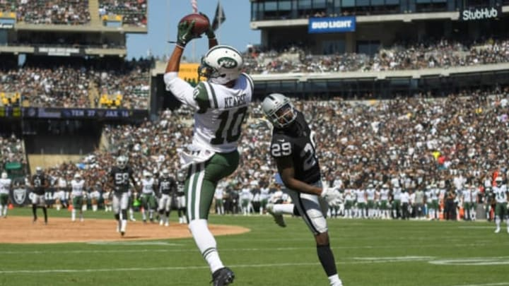 OAKLAND, CA – SEPTEMBER 17: Jermaine Kearse #10 of the New York Jets catches a thirty four yard touchdown pass over David Amerson #29 of the Oakland Raiders during the second quarter of their NFL football game at Oakland-Alameda County Coliseum on September 17, 2017 in Oakland, California. (Photo by Thearon W. Henderson/Getty Images)