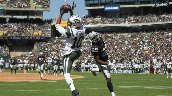 OAKLAND, CA - SEPTEMBER 17: Jermaine Kearse #10 of the New York Jets catches a thirty four yard touchdown pass over David Amerson #29 of the Oakland Raiders during the second quarter of their NFL football game at Oakland-Alameda County Coliseum on September 17, 2017 in Oakland, California. (Photo by Thearon W. Henderson/Getty Images)