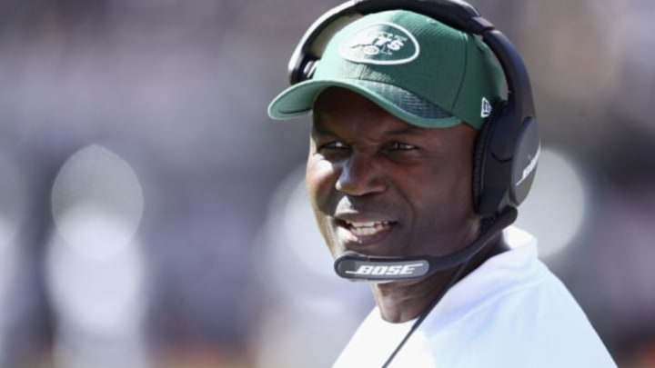 OAKLAND, CA – SEPTEMBER 17: Head coach Todd Bowles of the New York Jets stands on the sideline during their game against the Oakland Raiders at Oakland-Alameda County Coliseum on September 17, 2017 in Oakland, California. (Photo by Ezra Shaw/Getty Images)