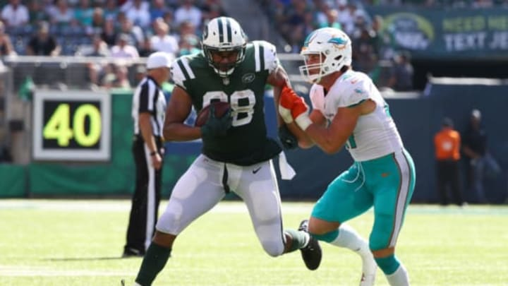 EAST RUTHERFORD, NJ – SEPTEMBER 24: Austin Seferian-Jenkins #88 of the New York Jets is wrapped up by Kiko Alonso #47 of the Miami Dolphins during the second half of an NFL game at MetLife Stadium on September 24, 2017 in East Rutherford, New Jersey. The New York Jets defeated the Miami Dolphins 20-6. (Photo by Al Bello/Getty Images)