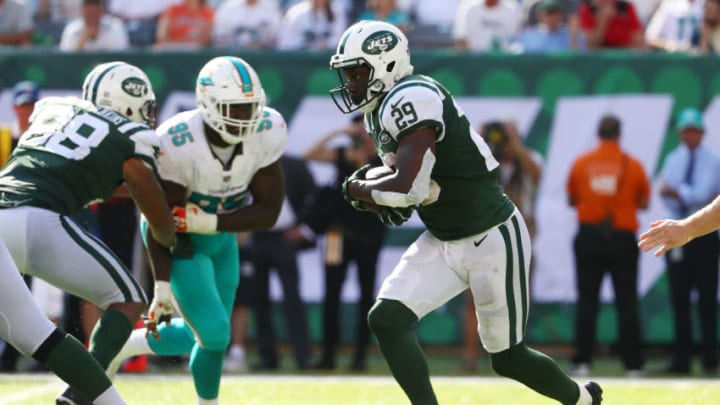 EAST RUTHERFORD, NJ - SEPTEMBER 24: Bilal Powell #29 of the New York Jets runs the ball against the Miami Dolphins during the second half of an NFL game at MetLife Stadium on September 24, 2017 in East Rutherford, New Jersey. The New York Jets defeated the Miami Dolphins 20-6. (Photo by Al Bello/Getty Images)