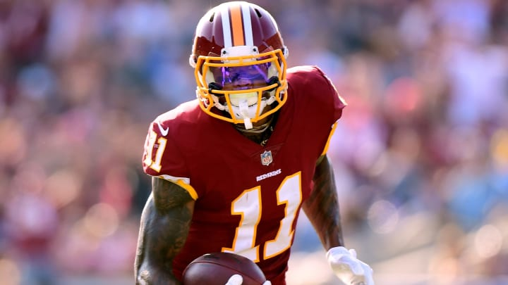 LOS ANGELES, CA – SEPTEMBER 17: Terrelle Pryor #11 of the Washington Redskins runs after his catch during the game against the Los Angeles Rams at Los Angeles Memorial Coliseum on September 17, 2017 in Los Angeles, California. (Photo by Harry How/Getty Images)