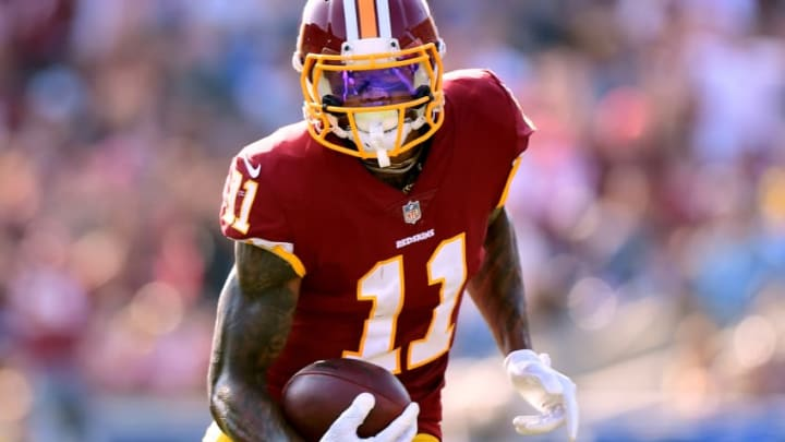 LOS ANGELES, CA - SEPTEMBER 17: Terrelle Pryor #11 of the Washington Redskins runs after his catch during the game against the Los Angeles Rams at Los Angeles Memorial Coliseum on September 17, 2017 in Los Angeles, California. (Photo by Harry How/Getty Images)
