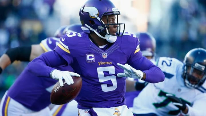 MINNEAPOLIS, MN - JANUARY 10: Teddy Bridgewater #5 of the Minnesota Vikings looks to pass in the first quarter against the Seattle Seahawks during the NFC Wild Card Playoff game at TCFBank Stadium on January 10, 2016 in Minneapolis, Minnesota. (Photo by Jamie Squire/Getty Images)