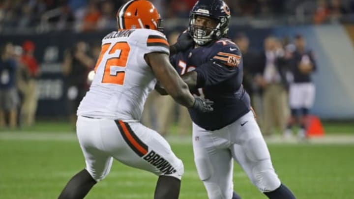CHICAGO, IL – AUGUST 31: John Jenkins #73 of the Chicago Bears rushes against Shon Coleman #72 of the Cleveland Browns during a preseason game at Soldier Field on August 31, 2017 in Chicago, Illinois. (Photo by Jonathan Daniel/Getty Images)
