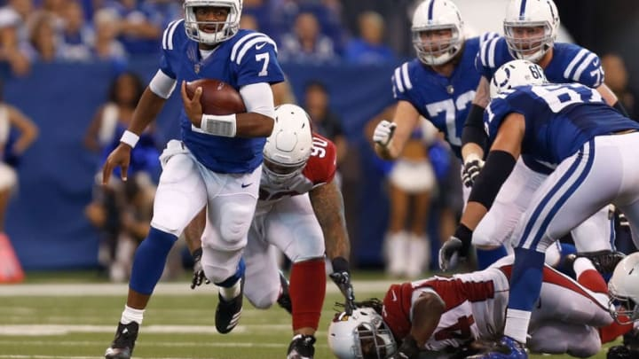 INDIANAPOLIS, IN - SEPTEMBER 17: Jacoby Brissett #7 of the Indianapolis Colts runs downfield against the Arizona Cardinals during the first half at Lucas Oil Stadium on September 17, 2017 in Indianapolis, Indiana. (Photo by Michael Reaves/Getty Images)