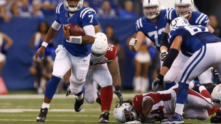 INDIANAPOLIS, IN – SEPTEMBER 17: Jacoby Brissett #7 of the Indianapolis Colts runs downfield against the Arizona Cardinals during the first half at Lucas Oil Stadium on September 17, 2017 in Indianapolis, Indiana. (Photo by Michael Reaves/Getty Images)