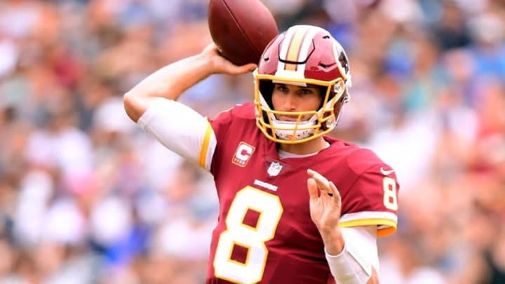 LOS ANGELES, CA - SEPTEMBER 17: Kirk Cousins #8 of the Washington Redskins passes during the game against the Los Angeles Rams at Los Angeles Memorial Coliseum on September 17, 2017 in Los Angeles, California. (Photo by Harry How/Getty Images)