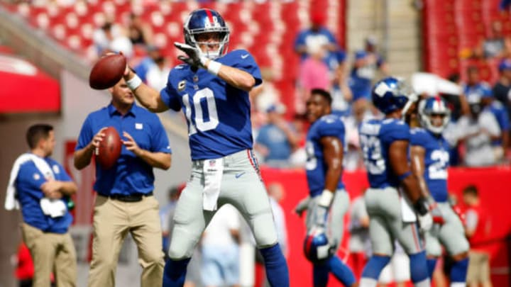 TAMPA, FL – OCTOBER 1: Quarterback Eli Manning #10 of the New York Giants warms up before the start of an NFL football game against the Tampa Bay Buccaneers on October 1, 2017 at Raymond James Stadium in Tampa, Florida. (Photo by Brian Blanco/Getty Images)