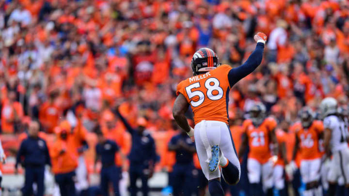 DENVER, CO - OCTOBER 1: Outside linebacker Von Miller #58 of the Denver Broncos celebrates after making a sack in the fourth quarter of a game against the Oakland Raiders at Sports Authority Field at Mile High on October 1, 2017 in Denver, Colorado. (Photo by Dustin Bradford/Getty Images)