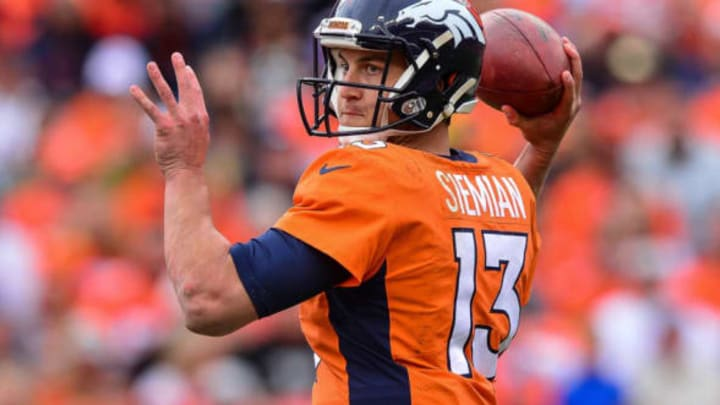 DENVER, CO – OCTOBER 1: Quarterback Trevor Siemian #13 of the Denver Broncos passes against the Oakland Raiders during a game at Sports Authority Field at Mile High on October 1, 2017 in Denver, Colorado. (Photo by Dustin Bradford/Getty Images)