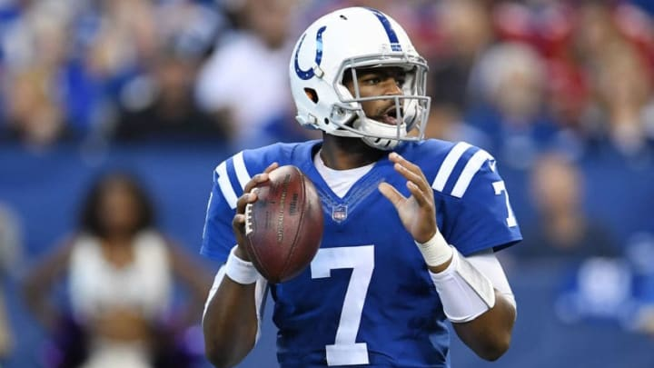 INDIANAPOLIS, IN - OCTOBER 08: Jacoby Brissett #7 of the Indianapolis Colts drops back to pass during the second quarter of a game against the San Francisco 49ers at Lucas Oil Stadium on October 8, 2017 in Indianapolis, Indiana. (Photo by Stacy Revere/Getty Images)