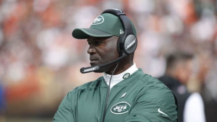 CLEVELAND, OH – OCTOBER 08: Head coach Todd Bowles of the New York Jets looks on in the third quarter against the Cleveland Browns at FirstEnergy Stadium on October 8, 2017 in Cleveland, Ohio. (Photo by Joe Robbins/Getty Images)