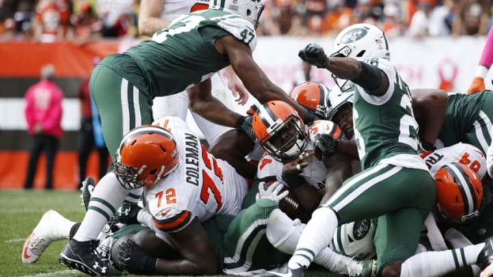 CLEVELAND, OH - OCTOBER 08: Isaiah Crowell #34 of the Cleveland Browns gets stopped on a fourth and one in the second half against the New York Jets at FirstEnergy Stadium on October 8, 2017 in Cleveland, Ohio. (Photo by Joe Robbins/Getty Images)