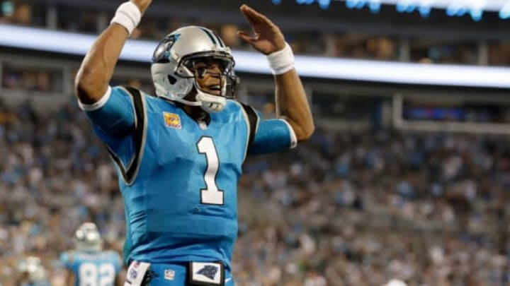 CHARLOTTE, NC – OCTOBER 12: Cam Newton #1 of the Carolina Panthers reacts after a fourth quarter touchdown against the Philadelphia Eagles during their game at Bank of America Stadium on October 12, 2017 in Charlotte, North Carolina. (Photo by Streeter Lecka/Getty Images)