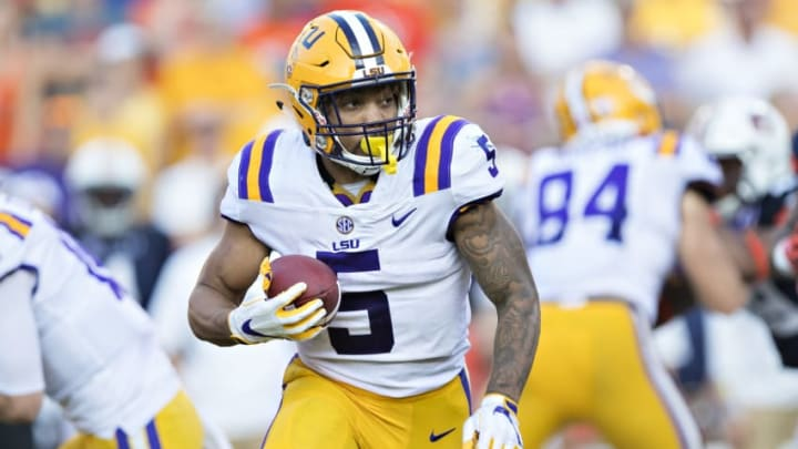 BATON ROUGE, LA - OCTOBER 14: Derrius Guice #5 of the LSU Tigers runs the ball during a game against the Auburn Tigers at Tiger Stadium on October 14, 2017 in Baton Rouge, Louisiana. The LSU defeated the Auburn 27-23. (Photo by Wesley Hitt/Getty Images)