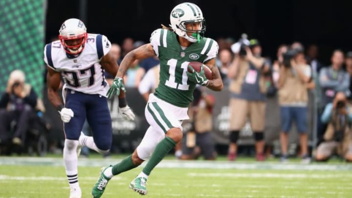 EAST RUTHERFORD, NJ - OCTOBER 15: Wide receiver Robby Anderson #11 of the New York Jets runs the ball against strong safety Jordan Richards #37 of the New England Patriots during the second half of their game at MetLife Stadium on October 15, 2017 in East Rutherford, New Jersey. The New England Patriots won 24-17. (Photo by Al Bello/Getty Images)