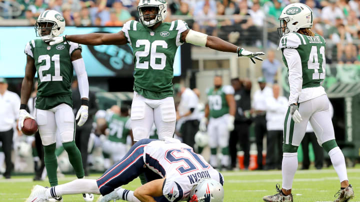 EAST RUTHERFORD, NJ – OCTOBER 15: Marcus Maye #26 of the New York Jets reacts in the first half after making a defensive stop against Chris Hogan #15 of the New England Patriots during their game at MetLife Stadium on October 15, 2017 in East Rutherford, New Jersey. (Photo by Abbie Parr/Getty Images)