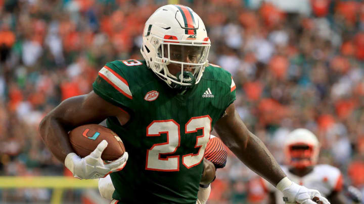 MIAMI GARDENS, FL - OCTOBER 21: Christopher Herndon IV #23 of the Miami Hurricanes rushes during a game against the Syracuse Orange at Sun Life Stadium on October 21, 2017 in Miami Gardens, Florida. (Photo by Mike Ehrmann/Getty Images)