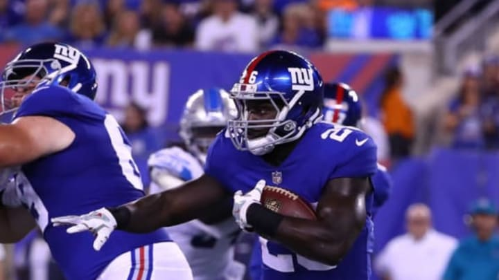EAST RUTHERFORD, NJ – SEPTEMBER 18: Orleans Darkwa #26 of the New York Giants in action against the Detroit Lions during their game at MetLife Stadium on September 18, 2017 in East Rutherford, New Jersey. (Photo by Al Bello/Getty Images)