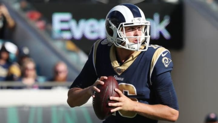 JACKSONVILLE, FL – OCTOBER 15: Jared Goff #16 of the Los Angeles Rams looks to pass in the first half of their game against the Jacksonville Jaguars at EverBank Field on October 15, 2017 in Jacksonville, Florida. (Photo by Logan Bowles/Getty Images)