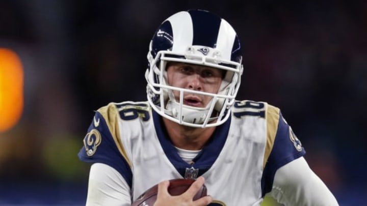 LONDON, ENGLAND – OCTOBER 22: Jared Goff of the Los Angeles Rams runs for a touchdown during the NFL match between the Arizona Cardinals and the Los Angeles Rams at Twickenham Stadium on October 22, 2017 in London, England. (Photo by Alan Crowhurst/Getty Images)