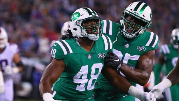 EAST RUTHERFORD, NJ - NOVEMBER 02: Jordan Jenkins #48 of the New York Jets celebrates with teammate outside linebacker Josh Martin #95 after sacking quarterback Tyrod Taylor #5 (not pictured) of the Buffalo Bills during the first quarter of the game at MetLife Stadium on November 2, 2017 in East Rutherford, New Jersey. (Photo by Al Bello/Getty Images)