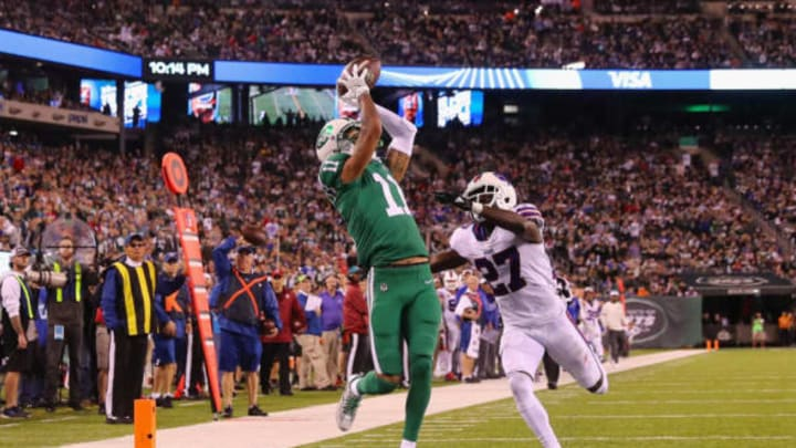 EAST RUTHERFORD, NJ – NOVEMBER 02: Wide receiver Robby Anderson #11 of the New York Jets makes a touchdown catch against cornerback Tre'Davious White #27 of the Buffalo Bills during the third quarter of the game at MetLife Stadium on November 2, 2017 in East Rutherford, New Jersey. (Photo by Elsa/Getty Images)