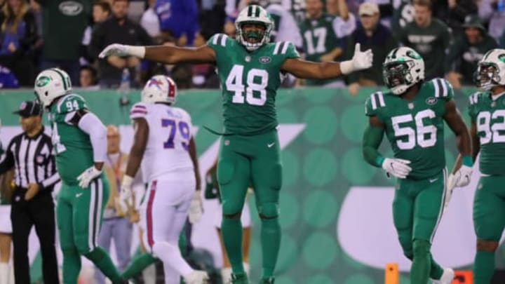 EAST RUTHERFORD, NJ – NOVEMBER 02: Jordan Jenkins #48 of the New York Jets celebrates his sack of Tyrod Taylor #5 of the Buffalo Bills with teammate Demario Davis #56 of the Jets during the second half of the game at MetLife Stadium on November 2, 2017 in East Rutherford, New Jersey. (Photo by Abbie Parr/Getty Images)