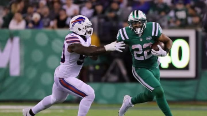 EAST RUTHERFORD, NJ – NOVEMBER 02: Matt Forte #22 of the New York Jets carries the ball as Ramon Humber #50 of the Buffalo Bills defends during the third quarter of the game at MetLife Stadium on November 2, 2017 in East Rutherford, New Jersey. (Photo by Abbie Parr/Getty Images)