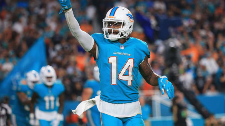 MIAMI GARDENS, FL - NOVEMBER 05: Wide receiver Jarvis Landry #14 of the Miami Dolphins celebrates a touchdown in the third quarter at Hard Rock Stadium on November 5, 2017 in Miami Gardens, Florida. (Photo by Chris Trotman/Getty Images)