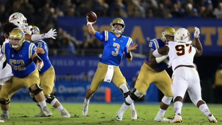 PASADENA, CA - NOVEMBER 11: Josh Rosen #3 of the UCLA Bruins passes the ball past Shannon Forman #97 of the Arizona State Sun Devils during the first half of a game at the Rose Bowl on November 11, 2017 in Pasadena, California. (Photo by Sean M. Haffey/Getty Images)