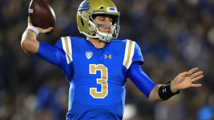 PASADENA, CA - NOVEMBER 11: Josh Rosen #3 of the UCLA Bruins passes the ball during the second half of a game against the Arizona State Sun Devils at the Rose Bowl on November 11, 2017 in Pasadena, California. (Photo by Sean M. Haffey/Getty Images)
