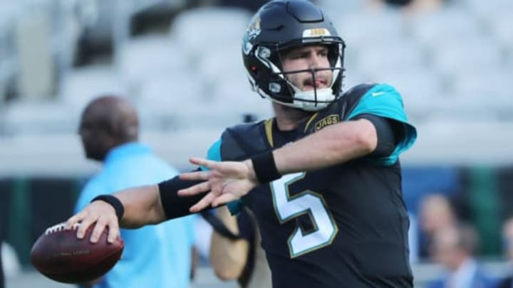 JACKSONVILLE, FL – NOVEMBER 12: Blake Bortles #5 of the Jacksonville Jaguars warms up on the field prior to the start of their game against the Los Angeles Chargers at EverBank Field on November 12, 2017 in Jacksonville, Florida. (Photo by Sam Greenwood/Getty Images)