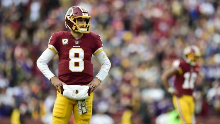 LANDOVER, MD - NOVEMBER 12: Quarterback Kirk Cousins #8 of the Washington Redskins looks on during the fourth quarter against the Minnesota Vikings at FedExField on November 12, 2017 in Landover, Maryland. (Photo by Patrick McDermott/Getty Images)