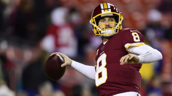LANDOVER, MD - NOVEMBER 23: Quarterback Kirk Cousins #8 of the Washington Redskins warms up before a game against the New York Giants at FedExField on November 23, 2017 in Landover, Maryland. (Photo by Patrick McDermott/Getty Images)