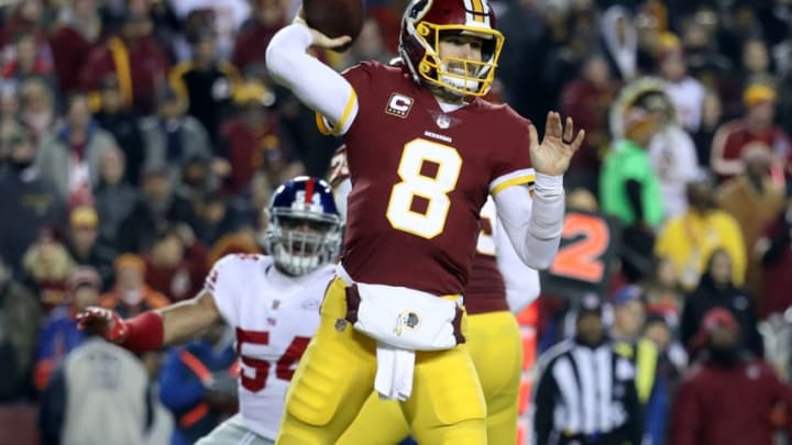 LANDOVER, MD - NOVEMBER 23: Quarterback Kirk Cousins #8 of the Washington Redskins throws a first quarter pass against the New York Giants at FedExField on November 23, 2017 in Landover, Maryland. (Photo by Rob Carr/Getty Images)